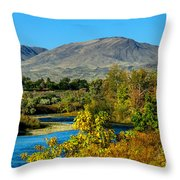 Payette River And Squaw Butte Throw Pillow