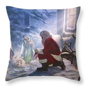 Santa Paying Homage Throw Pillow