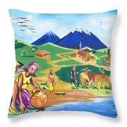 Paysage Du Nord Du Rwanda Throw Pillow