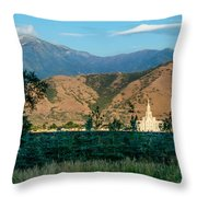 Payson Temple Mountains Throw Pillow