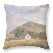 Haymaking At Dolwyddelan Throw Pillow