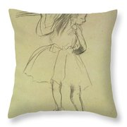 Girl Dancer At The Barre Throw Pillow