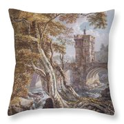 View Of The Old Welsh Bridge Throw Pillow