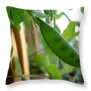 Pea Pod Growing Throw Pillow