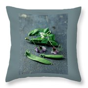 Pea Pods And Flowers Throw Pillow