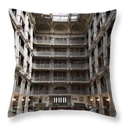 Peabody Library Baltimore Throw Pillow