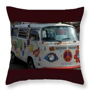 Peace And Love Van Throw Pillow