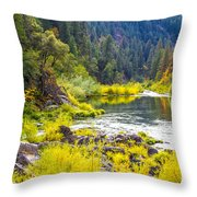 Peace And Tranquility In The Heart Of Feather River, Quincy California Throw Pillow