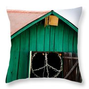 Peace Barn Throw Pillow