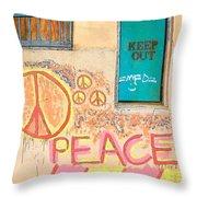 Hippie Graffiti - Peace But Keep Out Throw Pillow