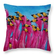 Peace Love And Flamingos Throw Pillow by Patti Schermerhorn