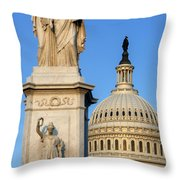 Peace Monument And Capitol Throw Pillow