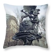 Peace Sculpture In New York Throw Pillow by Daniel Hagerman