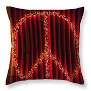 Peace Sign Christmas Lights Throw Pillow