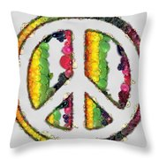 Peace Sign Fruits And Vegetables Throw Pillow