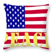 Peace The American Flag Throw Pillow