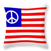 Peace Usa Flag Throw Pillow