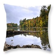 Peaceful Autumn Lake Throw Pillow