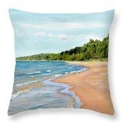 Peaceful Beach At Pier Cove Throw Pillow
