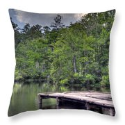 Peaceful Dock Throw Pillow by David Troxel