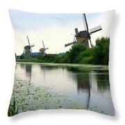 Peaceful Dutch Canal Throw Pillow