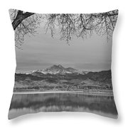 Peaceful Early Morning First Light Longs Peak View Bw Throw Pillow