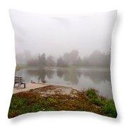 Peaceful Foggy Morning Marr Park Throw Pillow