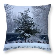Peaceful Holiday Card - Winter Landscape Throw Pillow
