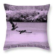Peaceful Holidays Card - Winter Ducks Throw Pillow