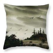 Peaceful Inland Cove Throw Pillow
