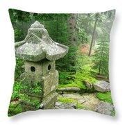 Peaceful Japanese Garden On Mount Desert Island Throw Pillow by Edward Fielding