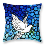 Peaceful Journey - White Dove Peace Art Throw Pillow