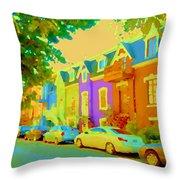 Peaceful Painted Pastel Rowhouses Printemps Plateau Montreal Scene Du Rue Carole Spandau Throw Pillow