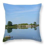 Peaceful Water Reflection At Tommy Thompson Park Throw Pillow