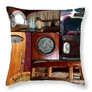 Peacemaker Bus Collage Throw Pillow