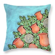 Peach Blossoms And Licorice Swirls Throw Pillow