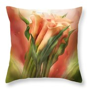 Peach Callas Throw Pillow
