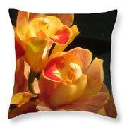 Peach Cymbidium Orchid Throw Pillow
