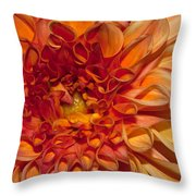 Peach Dahlia Throw Pillow