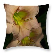 Peach Parfait Daylilies Throw Pillow