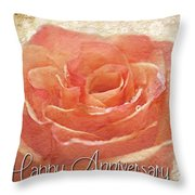 Peach Rose Anniversary Card Throw Pillow