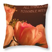Peach Roses With Scripture Throw Pillow