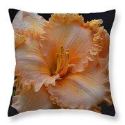 Peach Ruffled Lily Throw Pillow