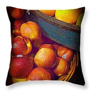 Peaches And Citrus With Blue Wooden Basket Throw Pillow