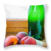 Peaches And Walnuts With Bottle Throw Pillow