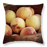 Peaches In A Basket Throw Pillow
