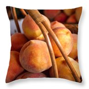 Peaches In Wicker Basket Throw Pillow