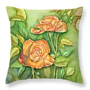 Autumn Roses Throw Pillow
