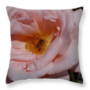Peachy Petals And Bee Throw Pillow