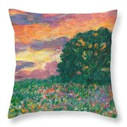 Peachy Sunset Throw Pillow
